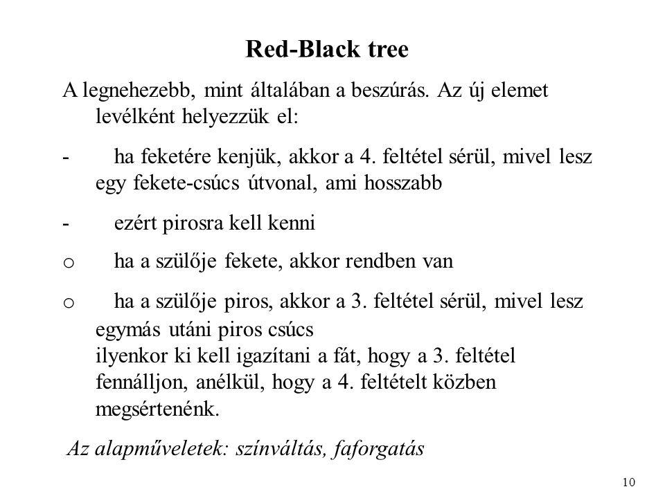 Red-Black tree A legnehezebb, mint általában a beszúrás. Az új elemet levélként helyezzük el: - ha feketére kenjük, akkor a 4. feltétel sérül, mivel l