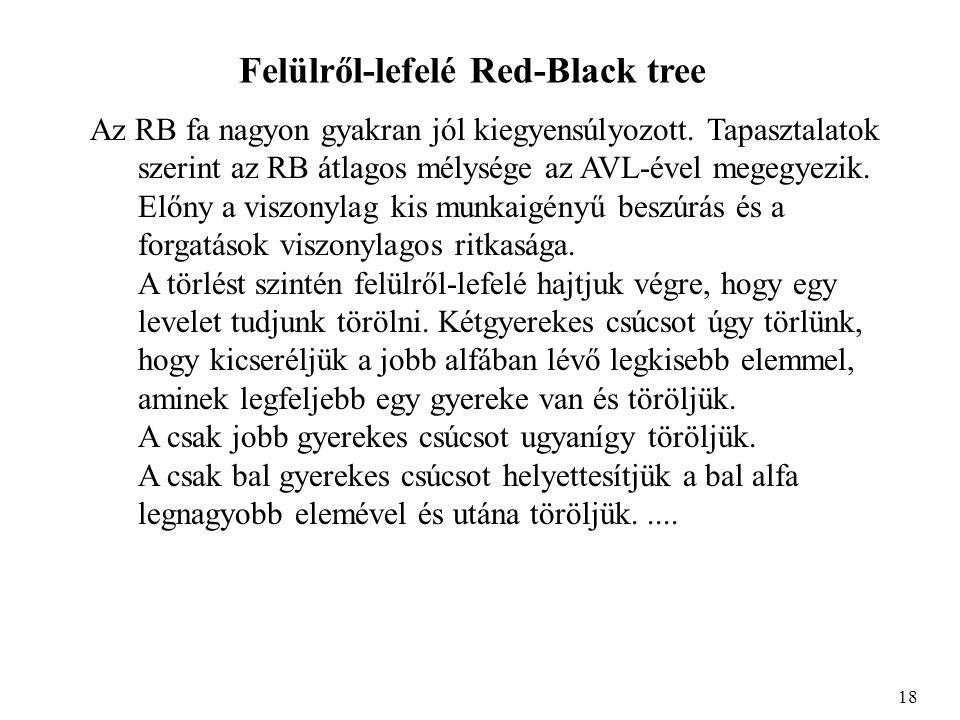 Felülről-lefelé Red-Black tree Az RB fa nagyon gyakran jól kiegyensúlyozott. Tapasztalatok szerint az RB átlagos mélysége az AVL-ével megegyezik. Előn