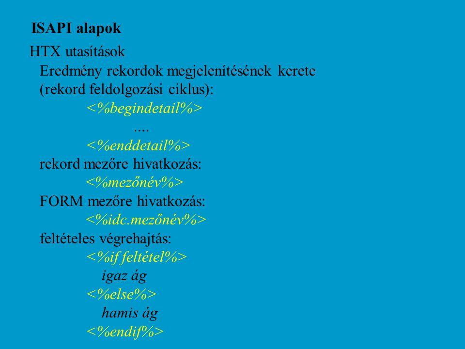 ISAPI alapok HTX utasítások Eredmény rekordok megjelenítésének kerete (rekord feldolgozási ciklus): ….