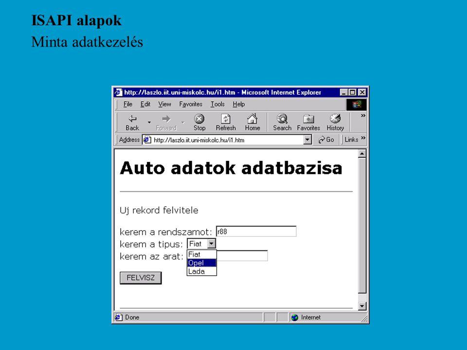 ISAPI alapok Minta adatkezelés