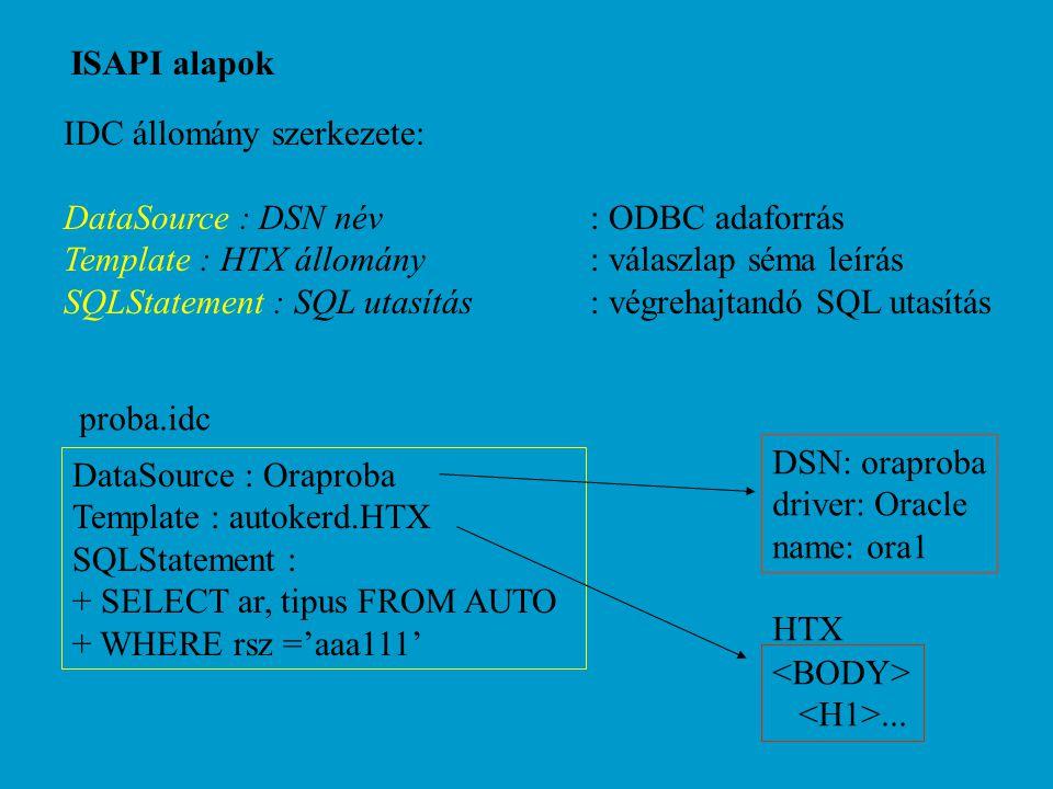 ISAPI alapok IDC állomány szerkezete: DataSource : DSN név: ODBC adaforrás Template : HTX állomány: válaszlap séma leírás SQLStatement : SQL utasítás: végrehajtandó SQL utasítás DataSource : Oraproba Template : autokerd.HTX SQLStatement : + SELECT ar, tipus FROM AUTO + WHERE rsz ='aaa111' proba.idc DSN: oraproba driver: Oracle name: ora1 HTX...