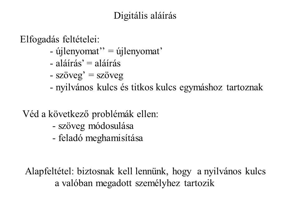 Digitális aláírás Elfogadás feltételei: - újlenyomat'' = újlenyomat' - aláírás' = aláírás - szöveg' = szöveg - nyilvános kulcs és titkos kulcs egymásh