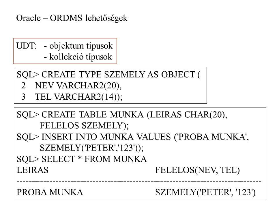 Oracle – ORDMS lehetőségek UDT:- objektum típusok - kollekció típusok SQL> CREATE TYPE SZEMELY AS OBJECT ( 2 NEV VARCHAR2(20), 3 TEL VARCHAR2(14)); SQL> CREATE TABLE MUNKA (LEIRAS CHAR(20), FELELOS SZEMELY); SQL> INSERT INTO MUNKA VALUES ( PROBA MUNKA , SZEMELY( PETER , 123 )); SQL> SELECT * FROM MUNKA LEIRASFELELOS(NEV, TEL) -------------------------------------------------------------------------------- PROBA MUNKASZEMELY( PETER , 123 )