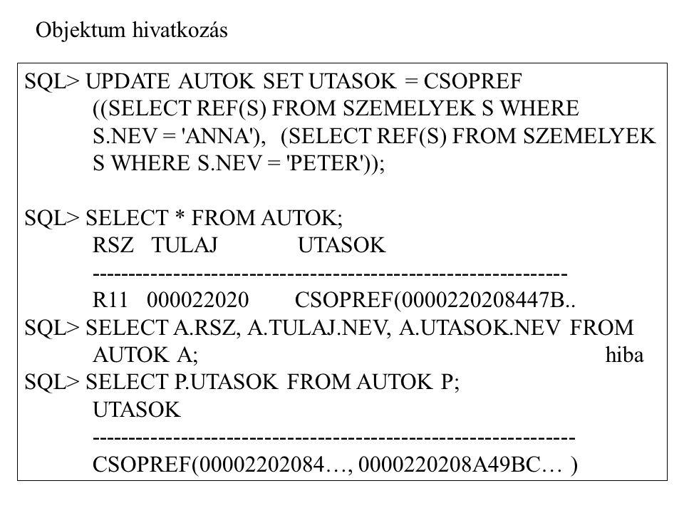 SQL> UPDATE AUTOK SET UTASOK = CSOPREF ((SELECT REF(S) FROM SZEMELYEK S WHERE S.NEV = 'ANNA'), (SELECT REF(S) FROM SZEMELYEK S WHERE S.NEV = 'PETER'))
