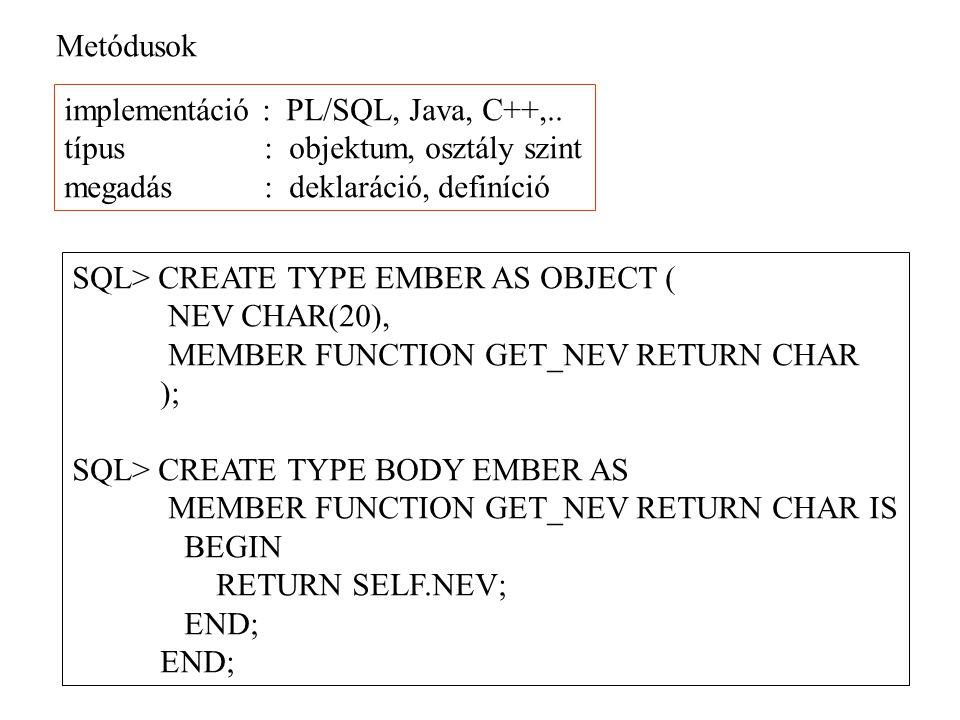 Metódusok implementáció : PL/SQL, Java, C++,.. típus : objektum, osztály szint megadás : deklaráció, definíció SQL> CREATE TYPE EMBER AS OBJECT ( NEV