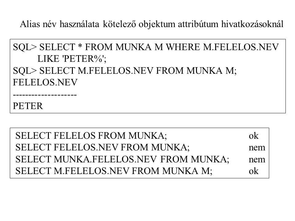 SQL> SELECT * FROM MUNKA M WHERE M.FELELOS.NEV LIKE PETER% ; SQL> SELECT M.FELELOS.NEV FROM MUNKA M; FELELOS.NEV -------------------- PETER Alias név használata kötelező objektum attribútum hivatkozásoknál SELECT FELELOS FROM MUNKA;ok SELECT FELELOS.NEV FROM MUNKA;nem SELECT MUNKA.FELELOS.NEV FROM MUNKA;nem SELECT M.FELELOS.NEV FROM MUNKA M;ok