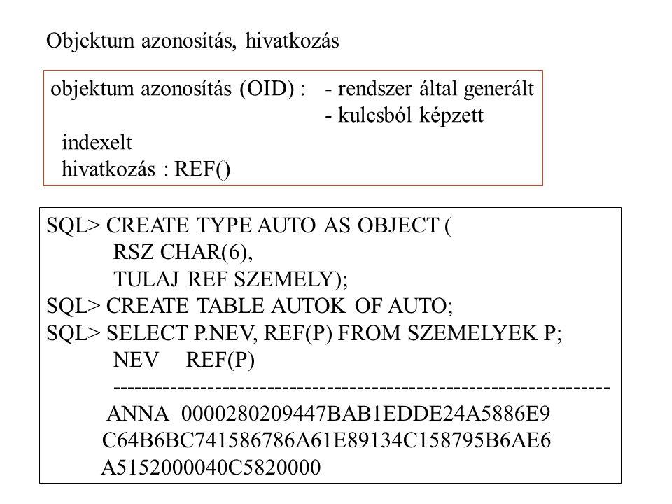 Objektum azonosítás, hivatkozás objektum azonosítás (OID) : - rendszer által generált - kulcsból képzett indexelt hivatkozás : REF() SQL> CREATE TYPE AUTO AS OBJECT ( RSZ CHAR(6), TULAJ REF SZEMELY); SQL> CREATE TABLE AUTOK OF AUTO; SQL> SELECT P.NEV, REF(P) FROM SZEMELYEK P; NEV REF(P) ------------------------------------------------------------------- ANNA 0000280209447BAB1EDDE24A5886E9 C64B6BC741586786A61E89134C158795B6AE6 A5152000040C5820000