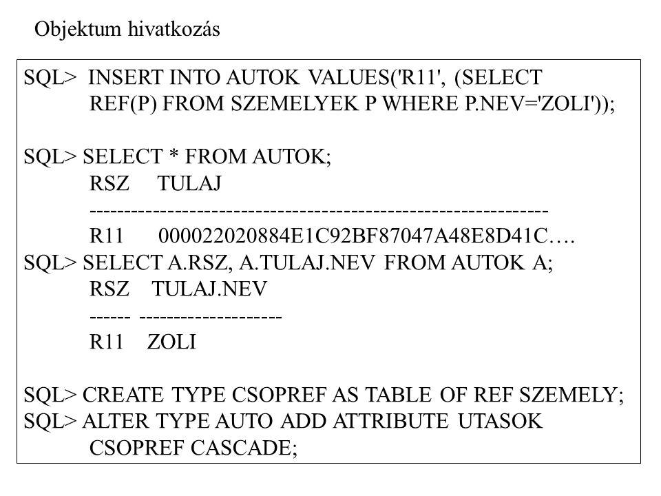 SQL> UPDATE AUTOK SET UTASOK = CSOPREF ((SELECT REF(S) FROM SZEMELYEK S WHERE S.NEV = ANNA ), (SELECT REF(S) FROM SZEMELYEK S WHERE S.NEV = PETER )); SQL> SELECT * FROM AUTOK; RSZ TULAJUTASOK --------------------------------------------------------------- R11 000022020 CSOPREF(0000220208447B..