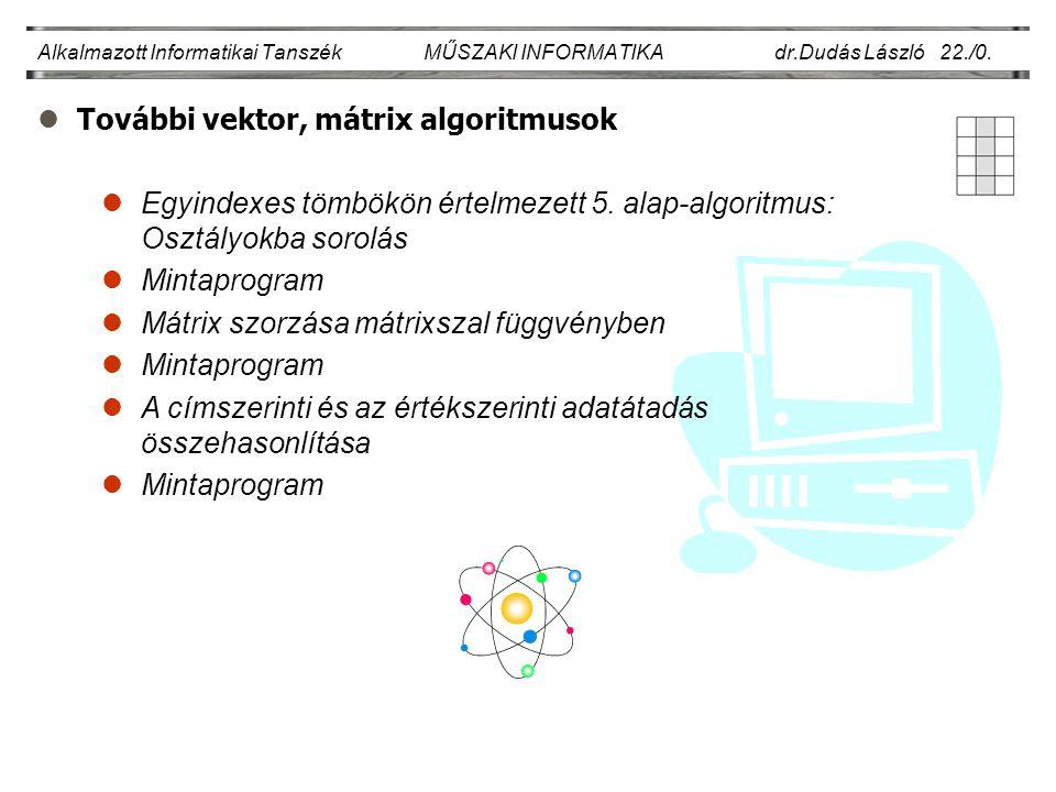 lTovábbi vektor, mátrix algoritmusok Alkalmazott Informatikai Tanszék MŰSZAKI INFORMATIKA dr.Dudás László 22./0.