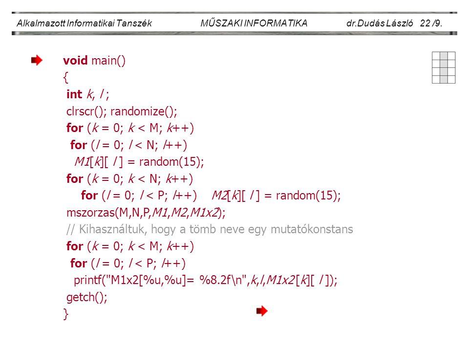 Alkalmazott Informatikai Tanszék MŰSZAKI INFORMATIKA dr.Dudás László 22 /9. void main() { int k, l ; clrscr(); randomize(); for (k = 0; k < M; k++) fo