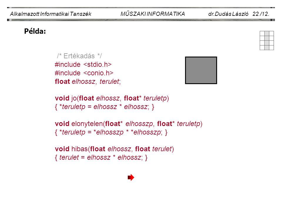 Példa: Alkalmazott Informatikai Tanszék MŰSZAKI INFORMATIKA dr.Dudás László 22 /12. /* Ertékadás */ #include float elhossz, terulet; void jo(float elh