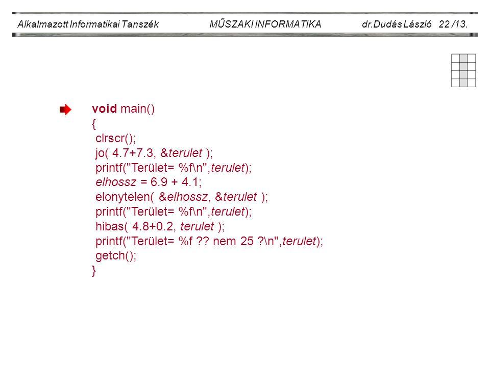 Alkalmazott Informatikai Tanszék MŰSZAKI INFORMATIKA dr.Dudás László 22 /13. void main() { clrscr(); jo( 4.7+7.3, &terulet ); printf(