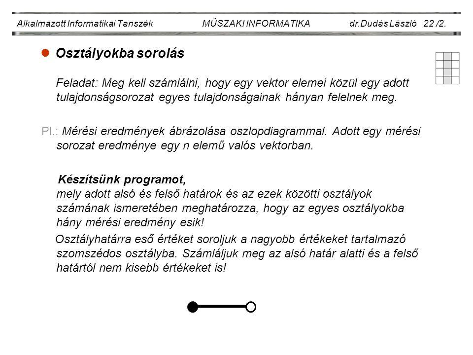 lOsztályokba sorolás Alkalmazott Informatikai Tanszék MŰSZAKI INFORMATIKA dr.Dudás László 22 /2. Feladat: Meg kell számlálni, hogy egy vektor elemei k