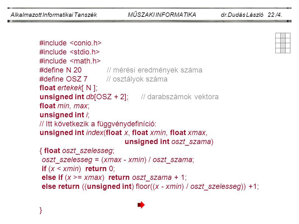 Alkalmazott Informatikai Tanszék MŰSZAKI INFORMATIKA dr.Dudás László 22 /4. #include #define N 20 // mérési eredmények száma #define OSZ 7 // osztályo