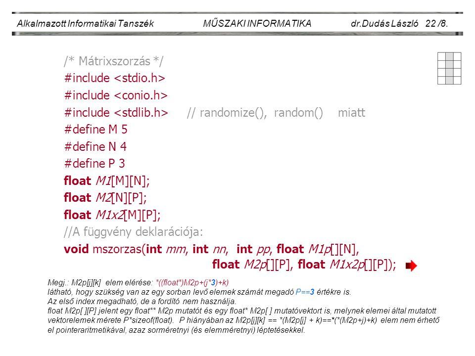 Alkalmazott Informatikai Tanszék MŰSZAKI INFORMATIKA dr.Dudás László 22 /8. /* Mátrixszorzás */ #include #include // randomize(), random() miatt #defi