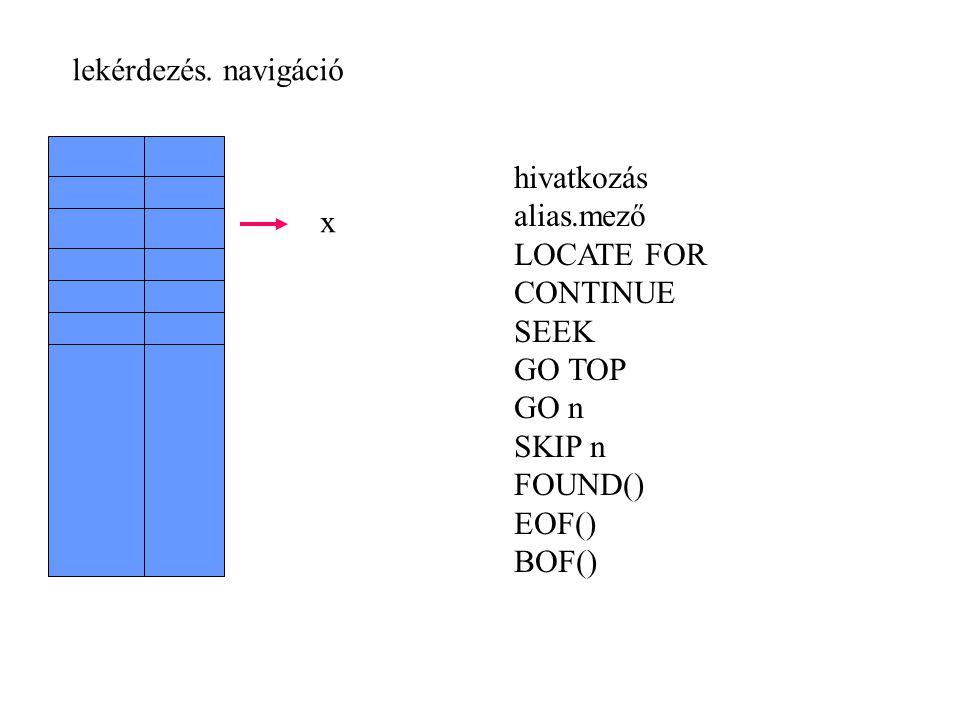 lekérdezés. navigáció hivatkozás alias.mező LOCATE FOR CONTINUE SEEK GO TOP GO n SKIP n FOUND() EOF() BOF() x