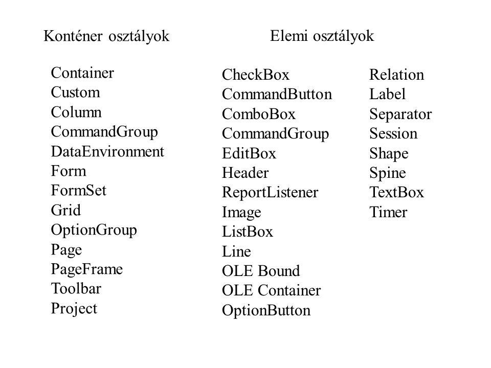 Objektum tartalmazási hierarchia _SCREEN objektum fs1 FORMSET objektum f1 FORM obj.