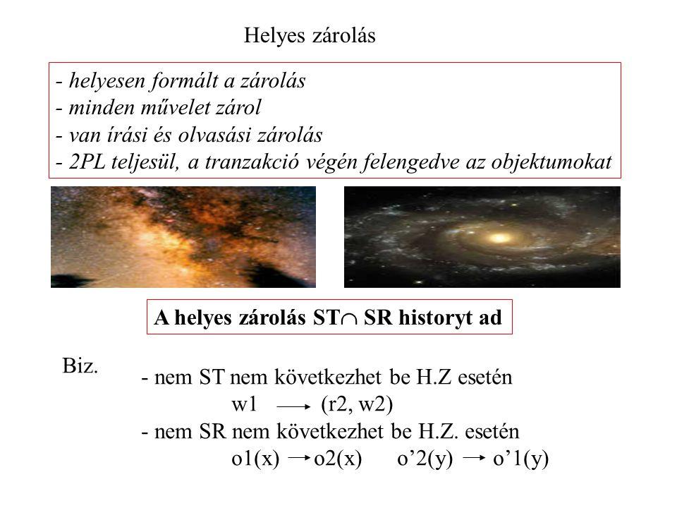 Helyes zárolás - helyesen formált a zárolás - minden művelet zárol - van írási és olvasási zárolás - 2PL teljesül, a tranzakció végén felengedve az objektumokat A helyes zárolás ST  SR historyt ad Biz.