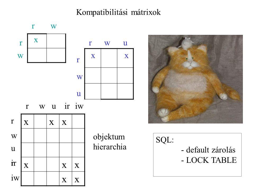 Kompatibilitási mátrixok rw r w x rwu r w u x SQL: - default zárolás - LOCK TABLE x xxx xxx xx rwuiriw r w u ir iw r objektum hierarchia