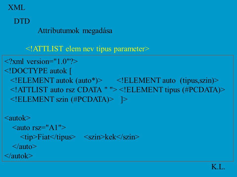 XML K.L. DTD Attributumok megadása <!DOCTYPE autok [ ]> Fiat kek