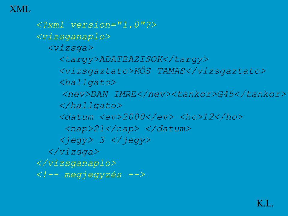 XML K.L. ADATBAZISOK KÓS TAMAS BAN IMRE G45 2000 12 21 3