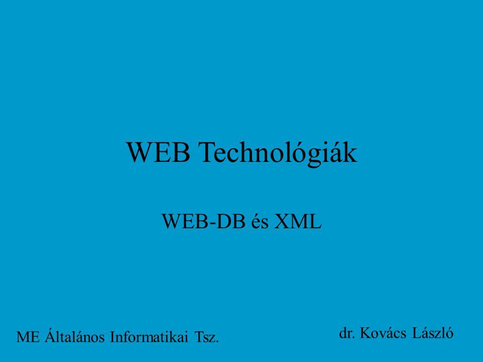 WEB Technológiák WEB-DB és XML ME Általános Informatikai Tsz. dr. Kovács László