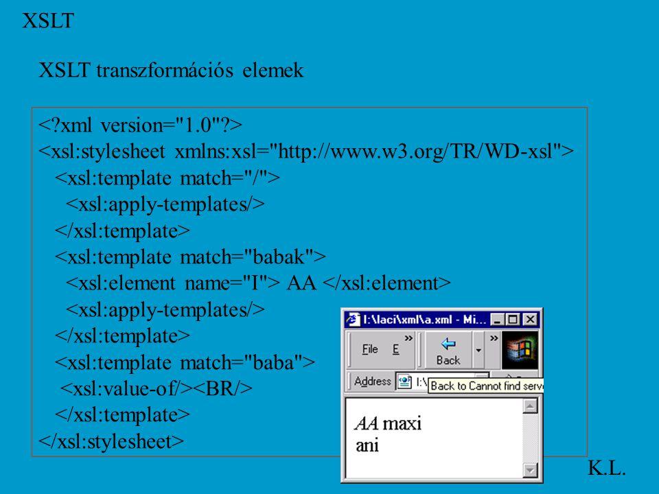 XSLT K.L. XSLT transzformációs elemek AA