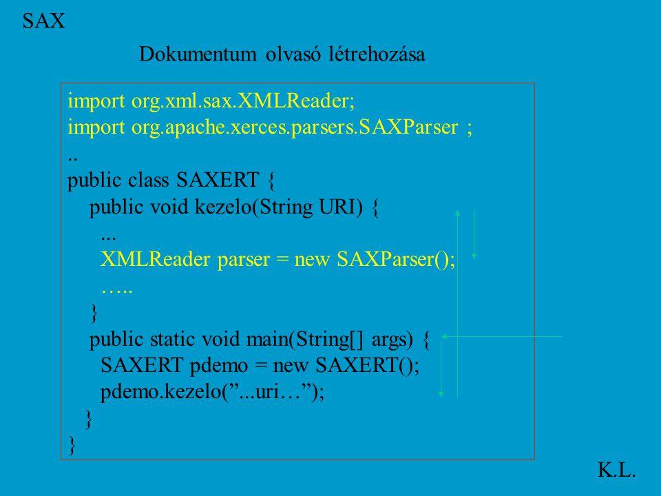 SAX K.L. import org.xml.sax.XMLReader; import org.apache.xerces.parsers.SAXParser ;..