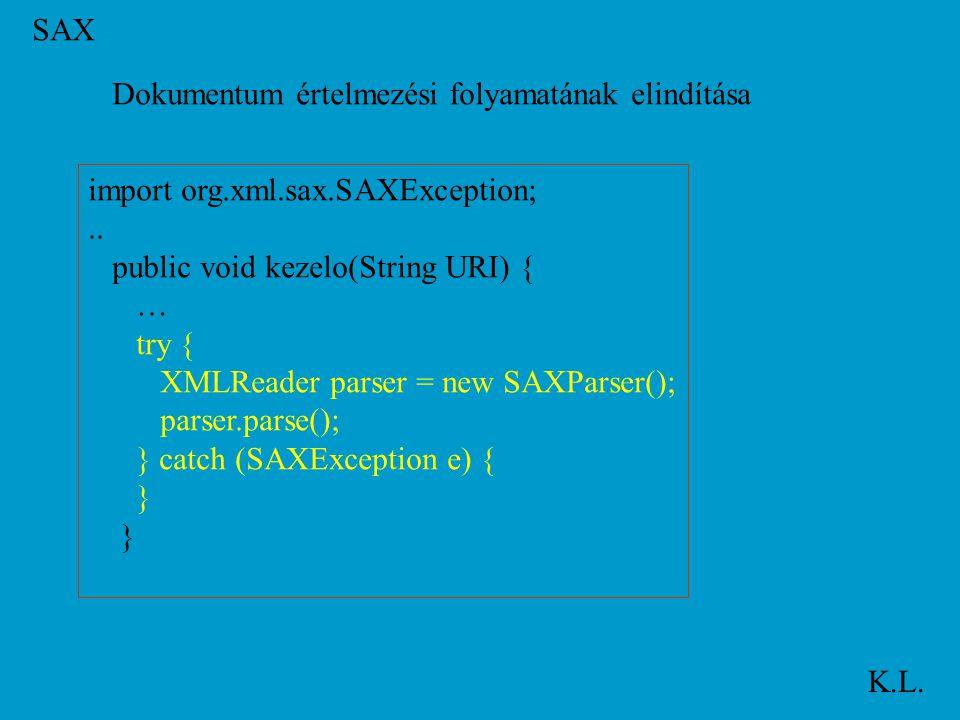 SAX K.L. Dokumentum értelmezési folyamatának elindítása import org.xml.sax.SAXException;..