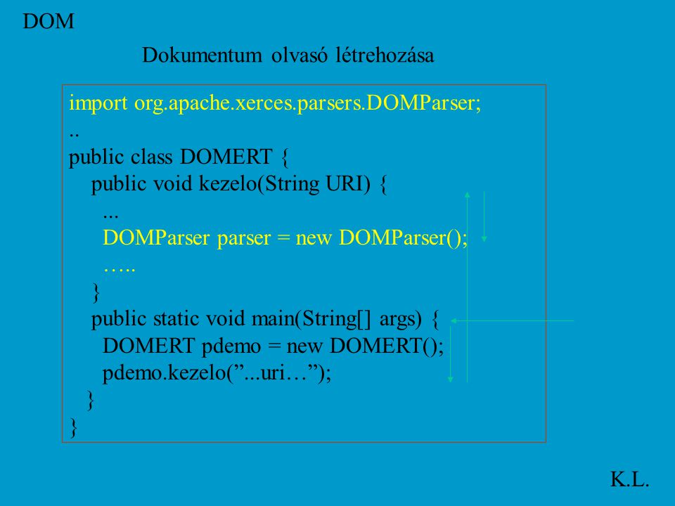 DOM K.L. import org.apache.xerces.parsers.DOMParser;..