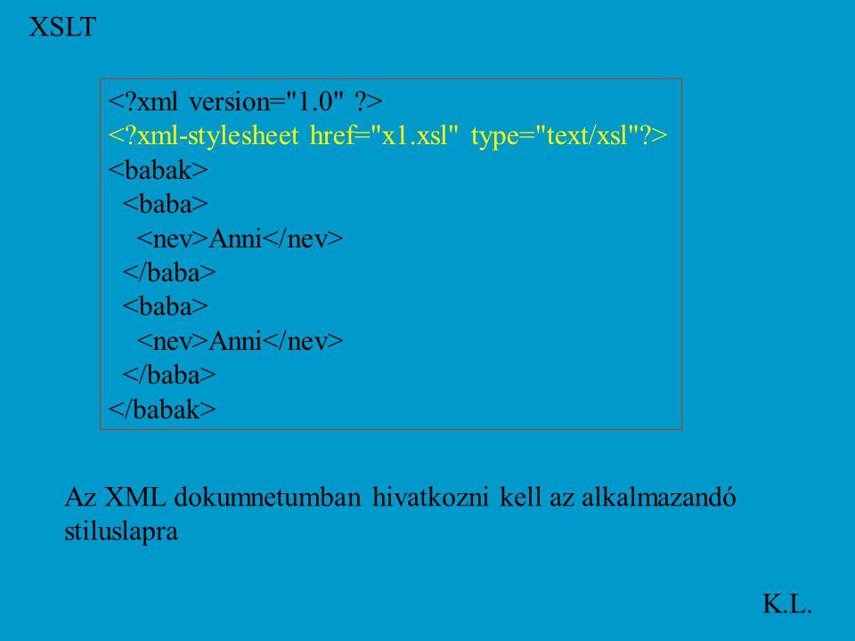 XSLT K.L. Anni Anni Az XML dokumnetumban hivatkozni kell az alkalmazandó stiluslapra