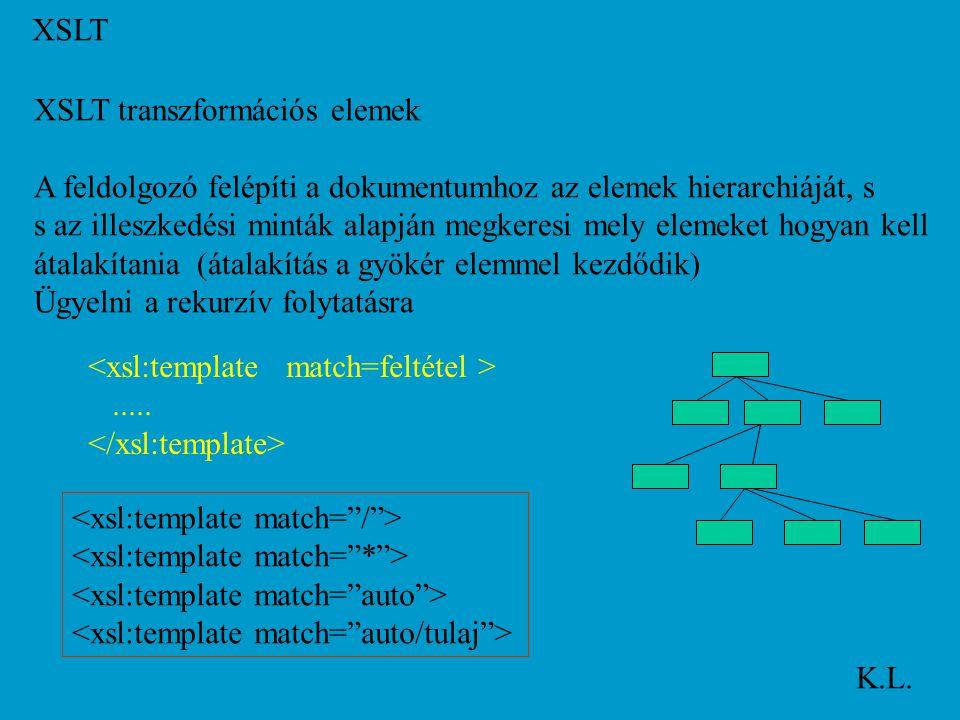 XSLT K.L. XSLT transzformációs elemek Gyerek elemek feldolgozása: Itt a gyoker babak babak