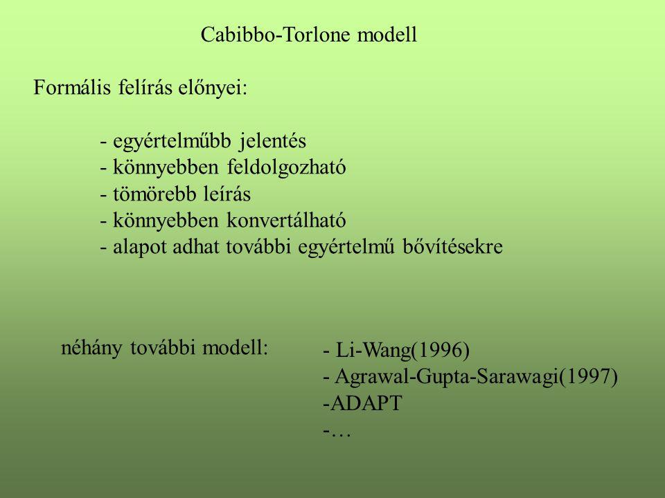 Cabibbo-Torlone modell Formális felírás előnyei: - egyértelműbb jelentés - könnyebben feldolgozható - tömörebb leírás - könnyebben konvertálható - ala