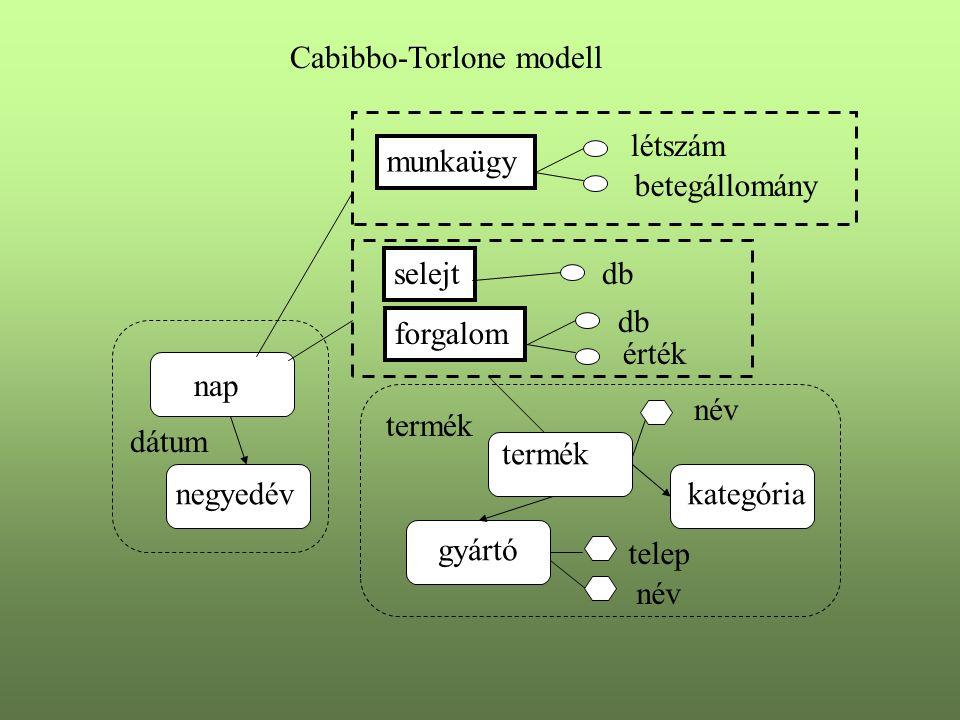forgalom nap negyedév termék gyártó kategória db érték név telep név dátum termék munkaügy létszám betegállomány Cabibbo-Torlone modell selejt db