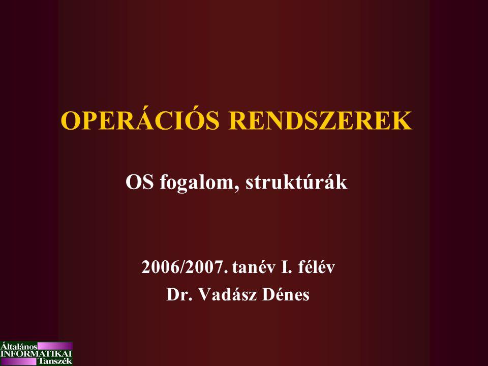 OPERÁCIÓS RENDSZEREK OS fogalom, struktúrák 2006/2007. tanév I. félév Dr. Vadász Dénes