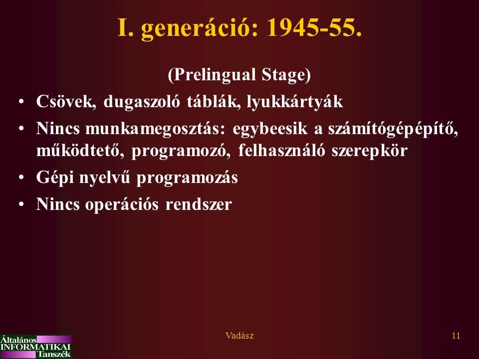 Vadász11 I. generáció: 1945-55. (Prelingual Stage) Csövek, dugaszoló táblák, lyukkártyák Nincs munkamegosztás: egybeesik a számítógépépítő, működtető,