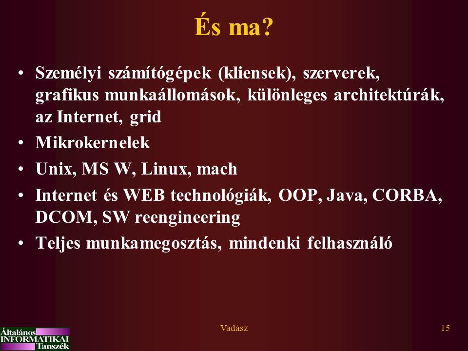 Vadász15 És ma? Személyi számítógépek (kliensek), szerverek, grafikus munkaállomások, különleges architektúrák, az Internet, grid Mikrokernelek Unix,