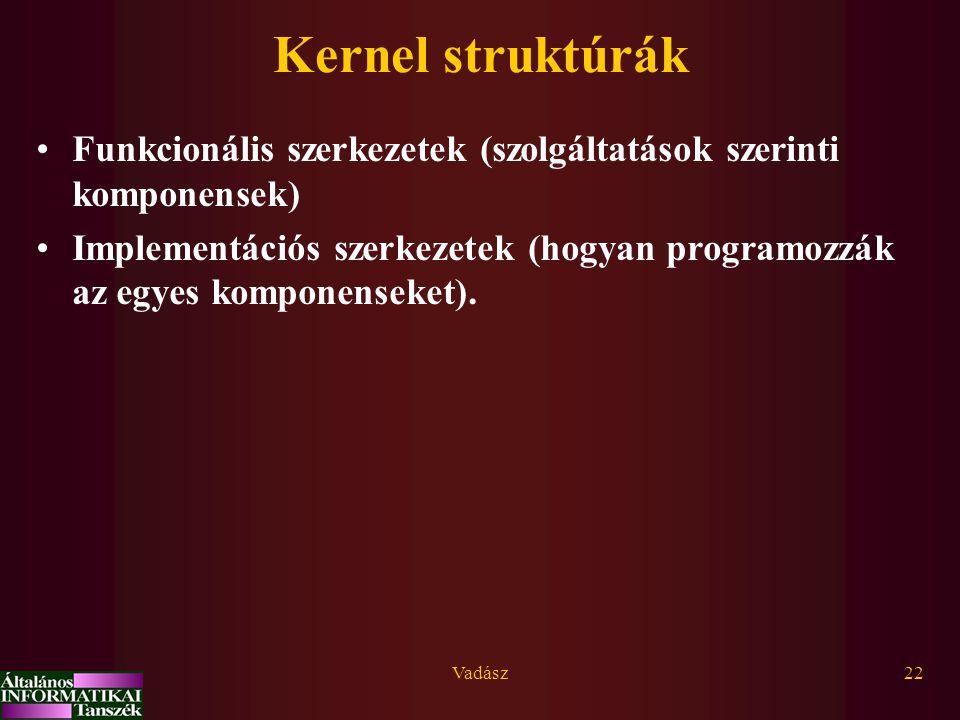 Vadász22 Kernel struktúrák Funkcionális szerkezetek (szolgáltatások szerinti komponensek) Implementációs szerkezetek (hogyan programozzák az egyes komponenseket).