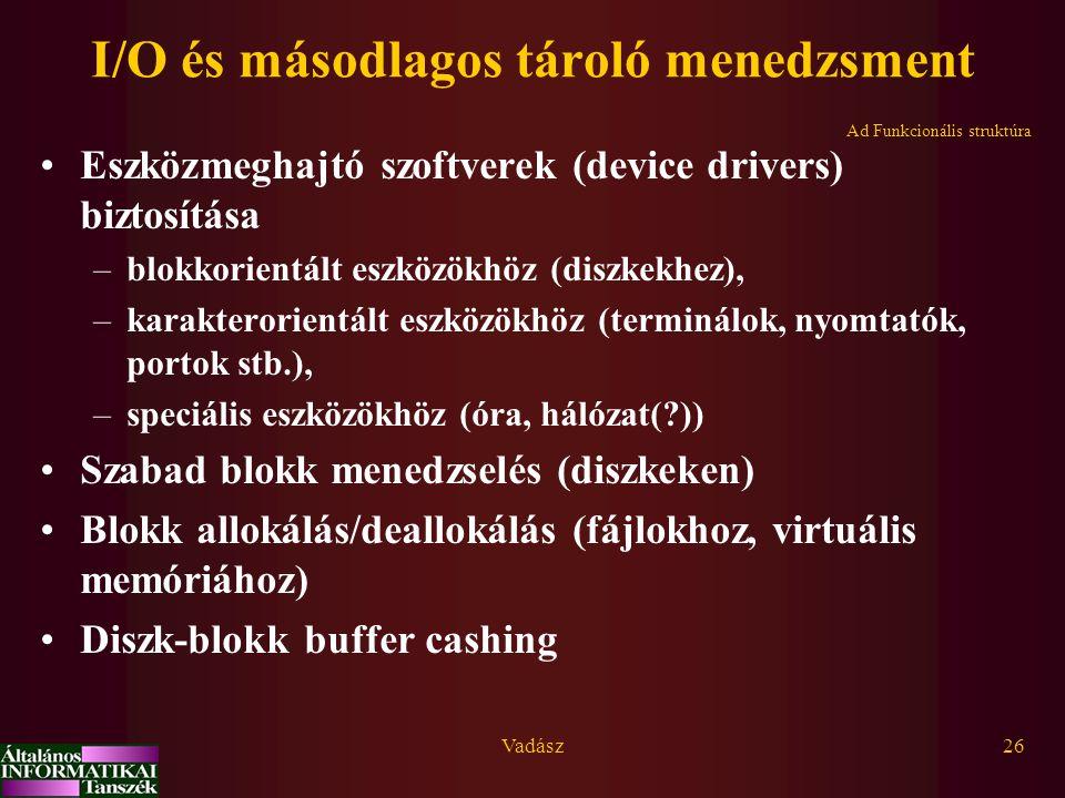 Vadász26 I/O és másodlagos tároló menedzsment Eszközmeghajtó szoftverek (device drivers) biztosítása –blokkorientált eszközökhöz (diszkekhez), –karakterorientált eszközökhöz (terminálok, nyomtatók, portok stb.), –speciális eszközökhöz (óra, hálózat(?)) Szabad blokk menedzselés (diszkeken) Blokk allokálás/deallokálás (fájlokhoz, virtuális memóriához) Diszk-blokk buffer cashing Ad Funkcionális struktúra