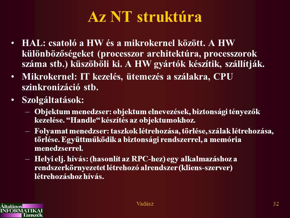 Vadász32 Az NT struktúra HAL: csatoló a HW és a mikrokernel között. A HW különbözőségeket (processzor architektúra, processzorok száma stb.) küszöböli