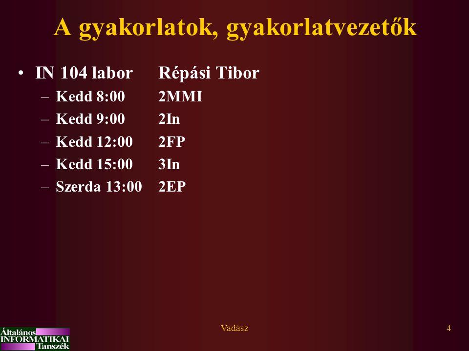 Vadász4 A gyakorlatok, gyakorlatvezetők IN 104 laborRépási Tibor –Kedd 8:00 2MMI –Kedd 9:002In –Kedd 12:002FP –Kedd 15:003In –Szerda 13:002EP