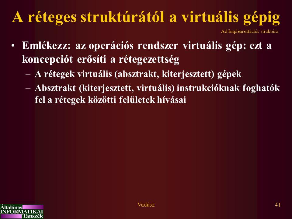 Vadász41 A réteges struktúrától a virtuális gépig Emlékezz: az operációs rendszer virtuális gép: ezt a koncepciót erősíti a rétegezettség –A rétegek virtuális (absztrakt, kiterjesztett) gépek –Absztrakt (kiterjesztett, virtuális) instrukcióknak foghatók fel a rétegek közötti felületek hívásai Ad Implementációs struktúra