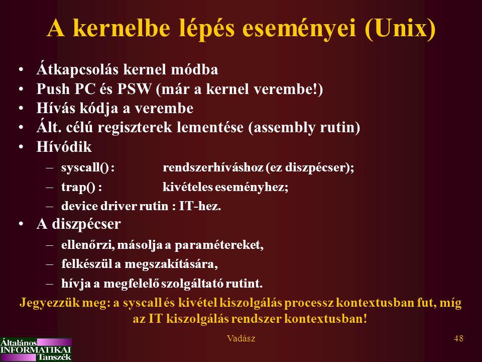 Vadász48 A kernelbe lépés eseményei (Unix) Átkapcsolás kernel módba Push PC és PSW (már a kernel verembe!) Hívás kódja a verembe Ált. célú regiszterek