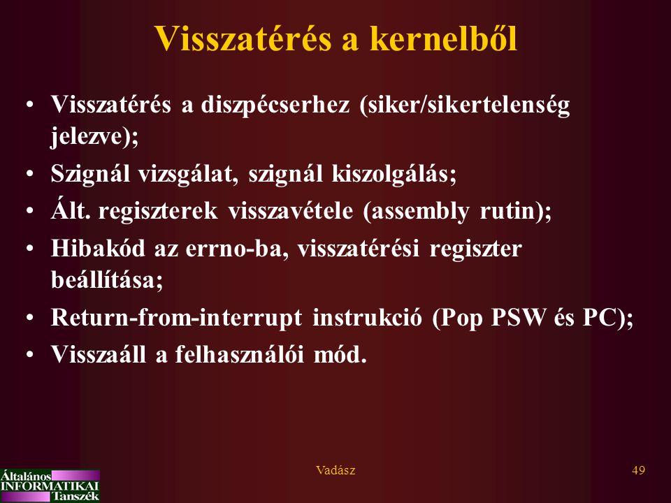Vadász49 Visszatérés a kernelből Visszatérés a diszpécserhez (siker/sikertelenség jelezve); Szignál vizsgálat, szignál kiszolgálás; Ált. regiszterek v