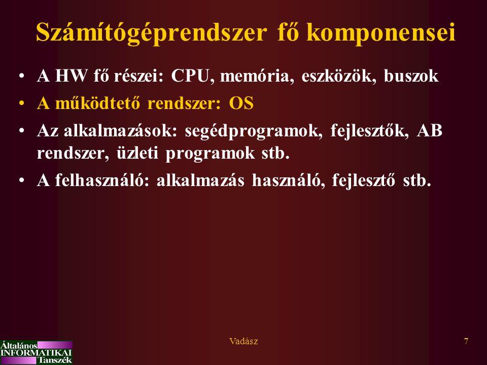 Vadász7 Számítógéprendszer fő komponensei A HW fő részei: CPU, memória, eszközök, buszok A működtető rendszer: OS Az alkalmazások: segédprogramok, fejlesztők, AB rendszer, üzleti programok stb.