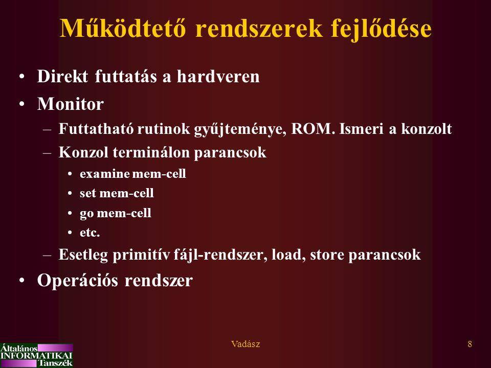 Vadász49 Visszatérés a kernelből Visszatérés a diszpécserhez (siker/sikertelenség jelezve); Szignál vizsgálat, szignál kiszolgálás; Ált.