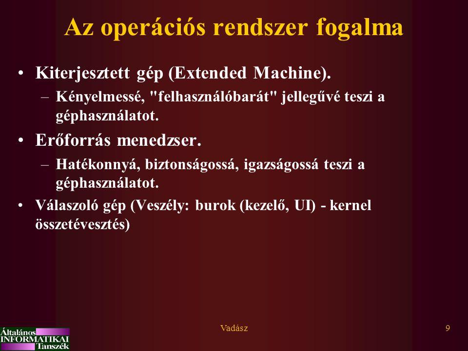 Vadász9 Az operációs rendszer fogalma Kiterjesztett gép (Extended Machine). –Kényelmessé,