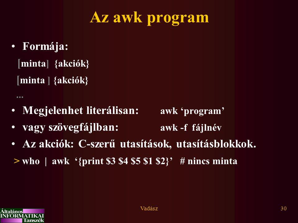 Vadász30 Az awk program Formája: [ minta] {akciók}...