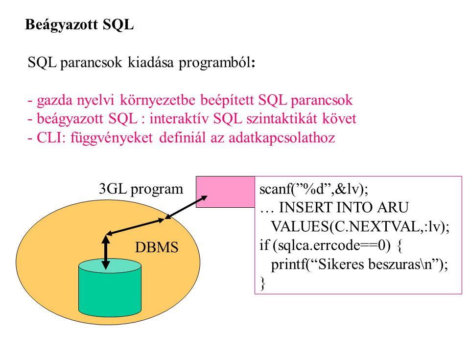 Beágyazott SQL SQL parancsok kiadása programból: - gazda nyelvi környezetbe beépített SQL parancsok - beágyazott SQL : interaktív SQL szintaktikát köv