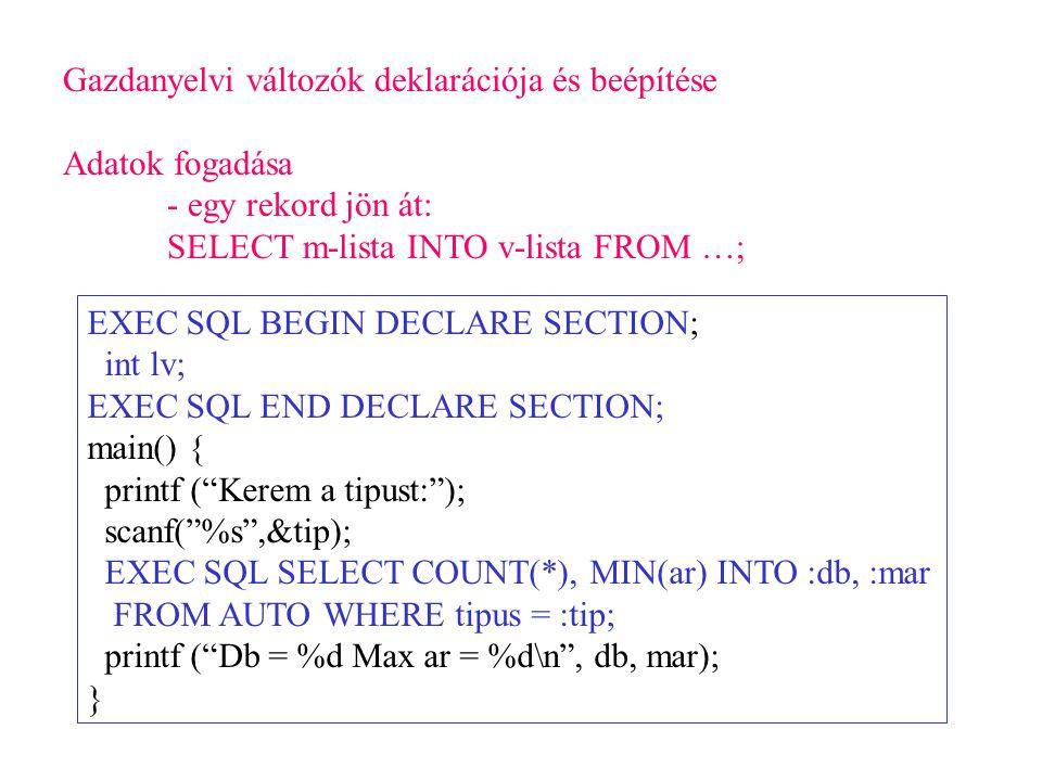 Gazdanyelvi változók deklarációja és beépítése Adatok fogadása - egy rekord jön át: SELECT m-lista INTO v-lista FROM …; EXEC SQL BEGIN DECLARE SECTION